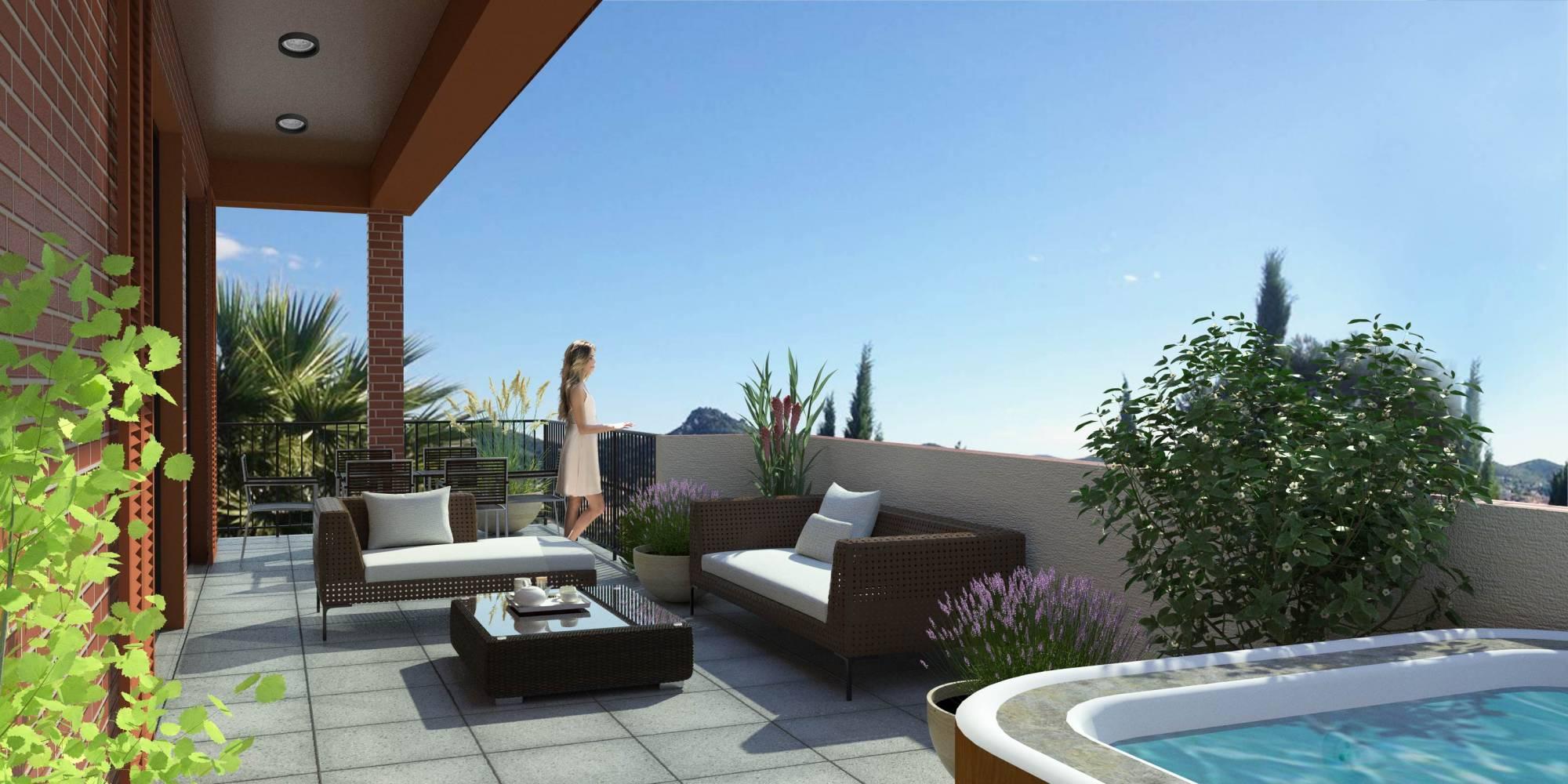 Grande terrasse en dernier étage à HYERES